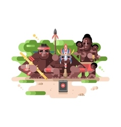 Aboriginal tribe and a smartphone vector