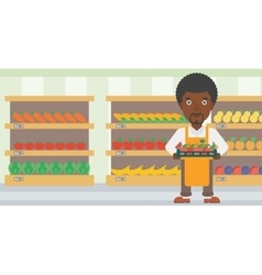 Supermarket worker with box full of apples vector