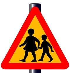 Children crossing traffic sign vector