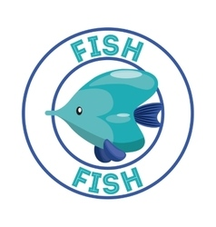 Fish over seal stamp sea life design vector