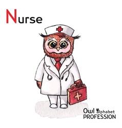 Alphabet professions Owl Letter N - Nurse vector image vector image