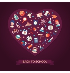 Back to school flat design icons heart composition vector image vector image