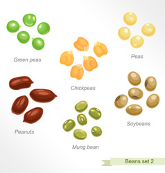 Beans and peas second icon set vector