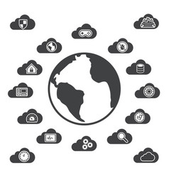 big data icons set cloud computing vector image