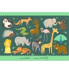 Big Set of of animal Zoo cute vector image