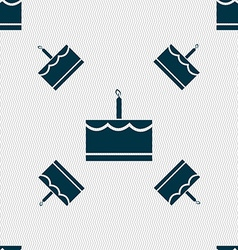 Birthday cake icon sign Seamless pattern with vector image vector image