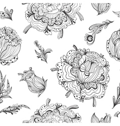 Black and White Gothic Floral Pattern vector image vector image