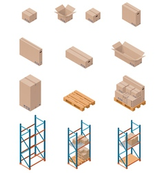 boxes and shelving vector image