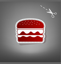 Burger simple sign red icon with for vector