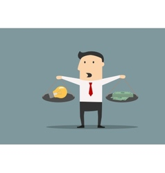 Businessman weighs the idea and money vector image