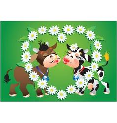 Cartoon kissing cows vector image vector image