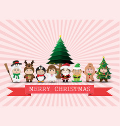 Chrismas cartoon cute kid vector