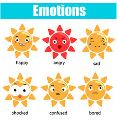 Cute kawaii sun character emoji emoticons vector