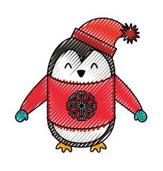 Cute scribble christmas penguin cartoon vector