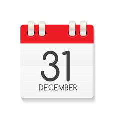 Flat calendar icon of 31 december vector