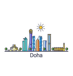 flat line doha banner vector image