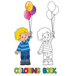Funny little boy with balloons coloring book vector