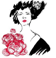 geisha with flowers kimono vector image vector image