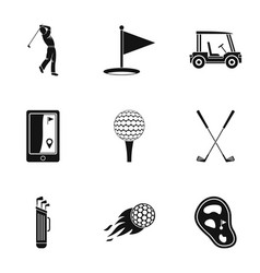 golf market icons set simple style vector image vector image