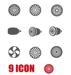 grey turbines icon set vector image vector image
