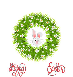 Happy easter green wreath of herbs and chamomile vector