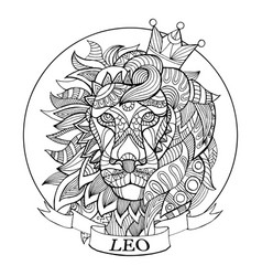 lion zodiac sign coloring book vector image