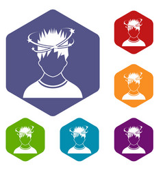man with dizziness icons set vector image vector image