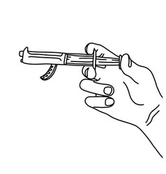 Metaphor hand using syringe with the gun vector