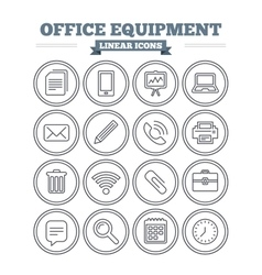 Office equipment linear icons set Thin outline vector image vector image