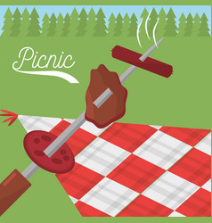 Picnic food grilled checkered tablecloth meadow vector