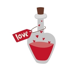 Romantic love potion in heart shaped glass flask vector