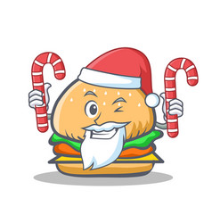 Santa burger character fast food with candy vector