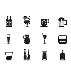 Silhouette different kind of drink icons vector image