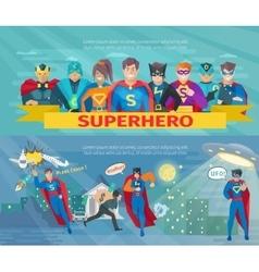 Superhero team banners set vector