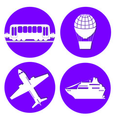 Transport types flat papercut style circle vector