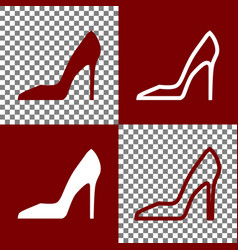 Woman shoe sign bordo and white icons and vector