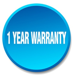 1 year warranty blue round flat isolated push vector image