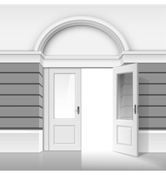 Shop Museum Boutique Building with Open Glass Door vector image