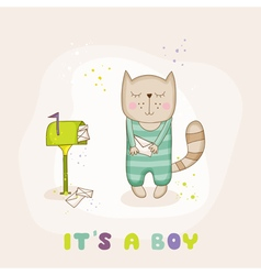Baby Cat with Mail - Baby Shower or Arrival Card vector image