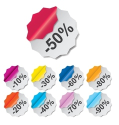Paper discount labels with different corner vector