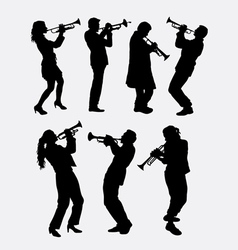 Trumpet instrument music player silhouette vector