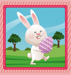 Happy easter bunny egg decorative pink frame vector