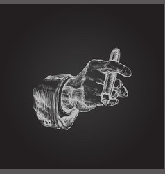 Hand with cigar hand drawn vector