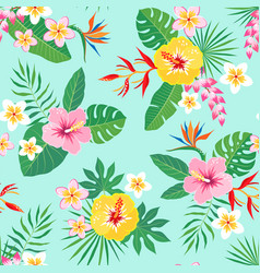 tropical floral pattern on aquamarine background vector image