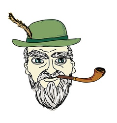 Old man smoking pipe vector