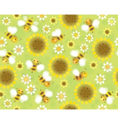 Bees flowers pattern vector