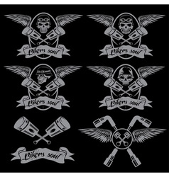 Biker theme labels with pistons and skulls with vector