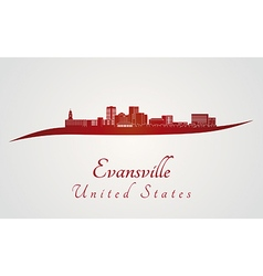 Evansville skyline in red vector