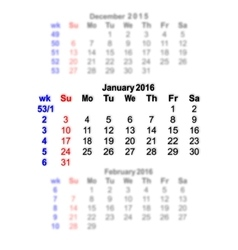 January 2016 calendar week starts on sunday vector
