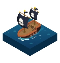 Isometric pirate ship 3d icon symbol sea vector